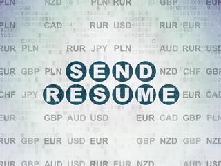 Finance concept: Send Resume on Digital Data Paper background