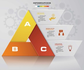 Abstract double pyramid shape layout with 3 steps. Presentation template.