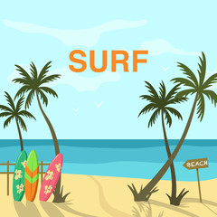 Beach scene with sea shore and ocean landscape and surfing boards with palm trees.