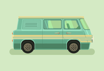 Camper green car. Vector flat cartoon illustration