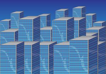 Blue Cartoon cityscape.