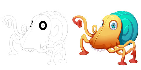 Coloring Book and Monster Creature Character Design Set 25: Beetle Octopus Face Snail Monster isolated on White Background Realistic Fantastic Cartoon Style Character Story Card Sticker Design