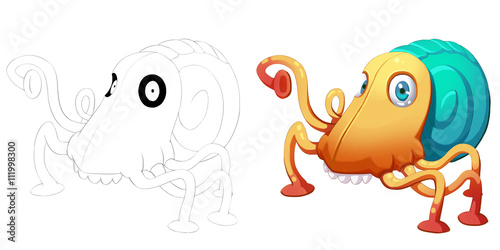 Coloring Book And Monster Creature Character Design Set 25 Beetle Octopus Face Snail Isolated