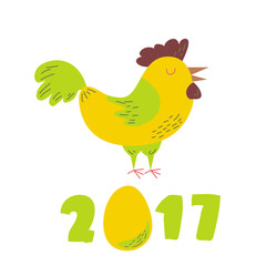 Cute cheerful Cockerel, the symbol of the new Chinese year 2017
