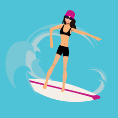 Cool vector girl surfer character