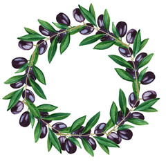 Olive Wreath with fruit. isolated. watercolor illustration.