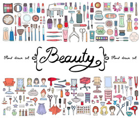 Vector set with hand drawn colored doodles of cosmetics and symbols of beauty. Sketches for use in design