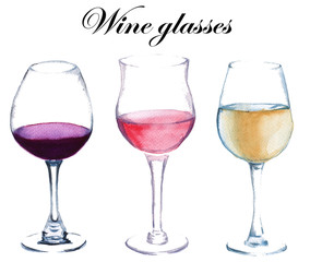 Three glasses of wine. isolated. watercolor illustration.
