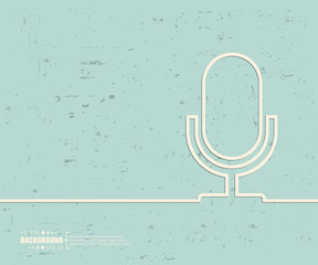 Creative vector microphone. Art illustration template background. For presentation, layout, brochure, logo, page, print, banner, poster, cover, booklet, business infographic, wallpaper, sign, flyer.