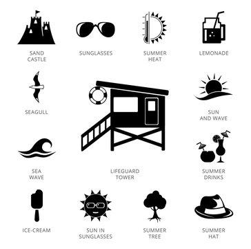 Lifeguard Tower Plus Icons Set