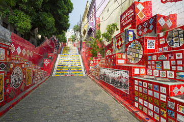 An early morning view of the Escadaria Selarón (Selaron Steps), a tourist attraction adjacent to the popular nightlife area of Lapa in Rio de Janeiro, Brazil