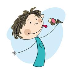 Little boy holding icecream - original hand drawn illustration