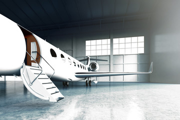 Closeup photo of White Matte Luxury Generic Design Private Jet parking in hangar airport. Concrete floor. Business Travel Picture. Horizontal, front angle view. Film Effect. 3D rendering.