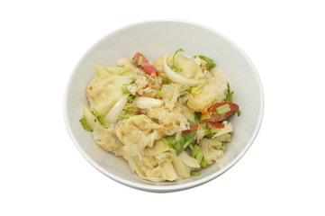 Spicy wonton salad with snow fungus mushroom, Thai food