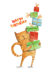 Cat with gift boxes. Happy birthday. Watercolor illustration
