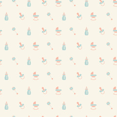 Baby seamless toys pattern. Design for fabric, web background, wallpaper, cards, prints of baby's goods.Vector illustration.
