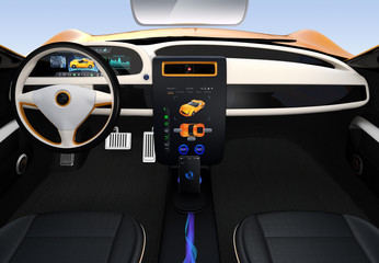 Electric vehicle Interface concept. 3D rendering image.
