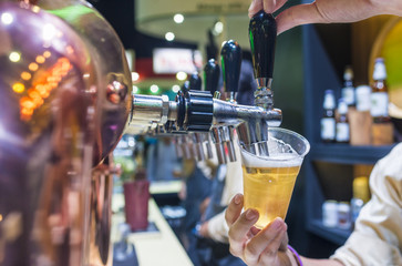 Barman brewing a beer tap pouring a draft beer