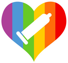 Rainbow heart of homosexual community; condom as safe protection for gays and men who have sex with men to not be infected by AIDS, HIV or other sexually transmitted disease and infection