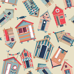 Various multi-colored Beach Huts. Seamless background pattern.