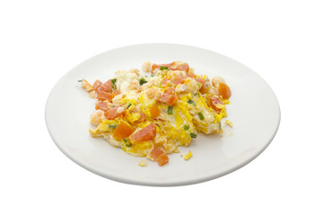 Omelet with shrimp and tomato