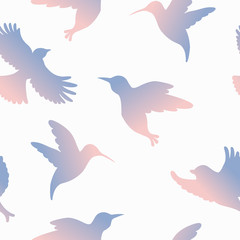Vector seamless pattern with colorful gradient birds