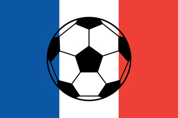 Euro 2016 France football championship with ball and france flag colors. Soccer cup, football championship. A soccer ball on a France flag.