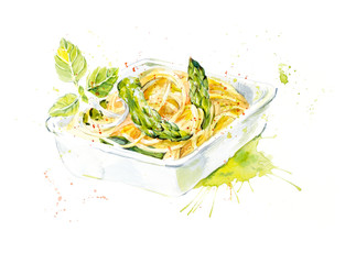 Spaghetti and asparagus. Food backdrop. Watercolor hand drawn illustration.