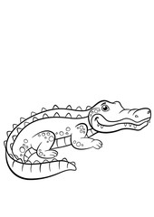 Coloring pages. Animals. Little cute alligator.