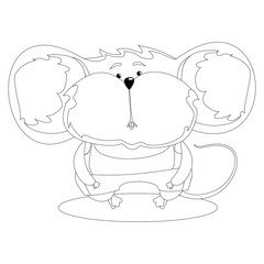 Serious mouse in clothes. Cartoon character. Outline drawing for coloring.