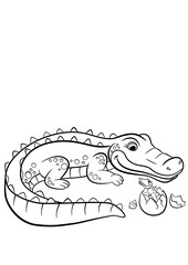 Coloring pages. Animals. Mother alligator looks at her little cute baby alligator in the egg.