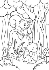 Coloring pages. Wild animals. Two little cute baby bears in the forest.