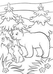 Coloring pages. Wild animals. Kind bear and little cute baby bear look at the raspberry.