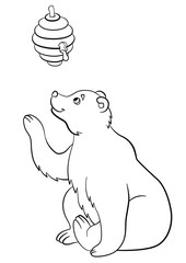 Coloring pages. Wild animals. Cute bear looks at the hive.