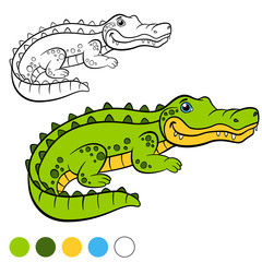 Coloring page. Color me: alligator. Little cute alligator.