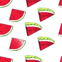 Vector seamless pattern of repeating watermelon slices. Hand drawn color fruit triangle parts. Fresh suumer food pattern.