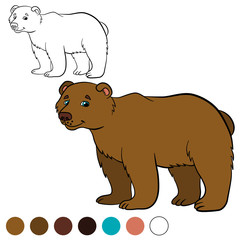 Coloring page. Color me: bear. Cute brown bear.