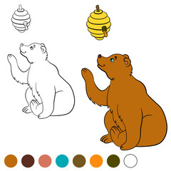 Coloring page. Color me: bear. Cute bear looks at the beehive.