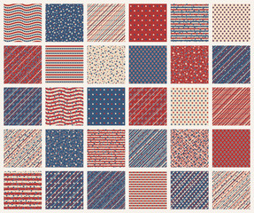 American stars and stripes seamless patterns