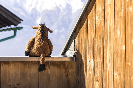 Back of cute worn out animal plush on wall of wooden shack toy facing snow covered mountains