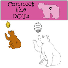Educational games for kids: Connect the dots. Cute bear looks at the beehive.