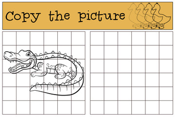 Children games: Copy the picture. Little cute alligator.
