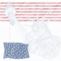 Statue of Liberty with american flag in the front and firework. Design for fourth july celebration USA. American symbol.