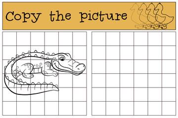 Children games: Copy the picture. Little cute alligator.