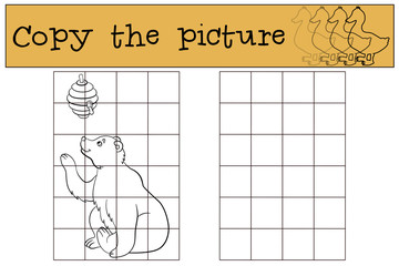 Children games: Copy the picture. Cute bear looks at the beehive.