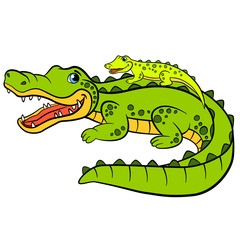 Cartoon animals for kids. Mother alligator with her little cute baby alligator.