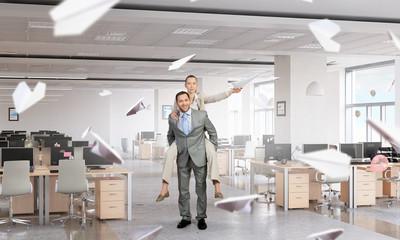 Business people having break in office