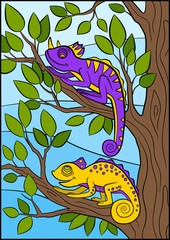 Cartoon animals for kids. Two little cute chameleons.