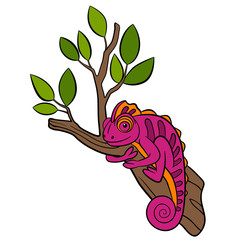 Cartoon animals for kids. Little cute pink chameleon sits on the tree branch and smiles.