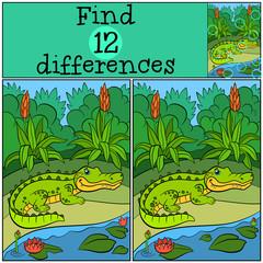 Children games: Find differences. Little cute alligator.